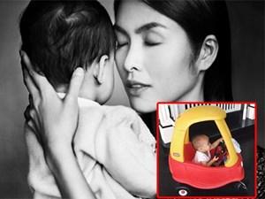 """Đố bạn nhìn được """"cận mặt"""" con trai Tăng Thanh Hà?"""