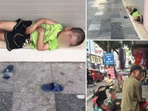 Em bé 4 tuổi nằm vạ vật trên vỉa hè chờ bố chạy xe ôm