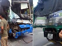 """Xe tải """"dìu"""" xe khách mất phanh xuống đèo an toàn"""