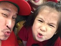 Con gái Huy Khánh siêu đáng yêu, trổ tài makeup... cho bố