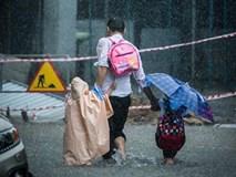 Thêm 1 người cha đầu trần ướt sũng nhường ô nhường áo cho con gây bão mạng