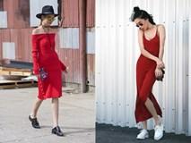 Nổi bần bật với váy đỏ sành điệu, thời thượng trên phố mùa thu