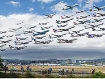 """Ngoạn mục hình ảnh hàng trăm máy bay """"cùng cất cánh"""""""