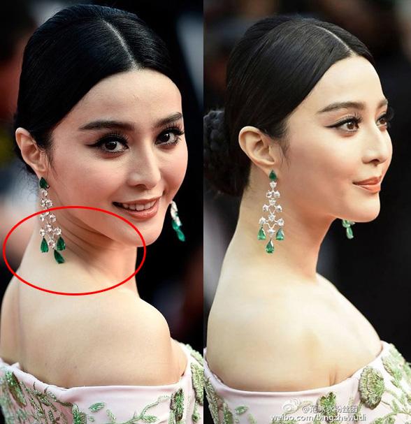 Đằng sau gương mặt đẹp không tì vết của Phạm Băng Băng (phải),  là một làn da nhăn nheo và không mấy mịn màng (trái)