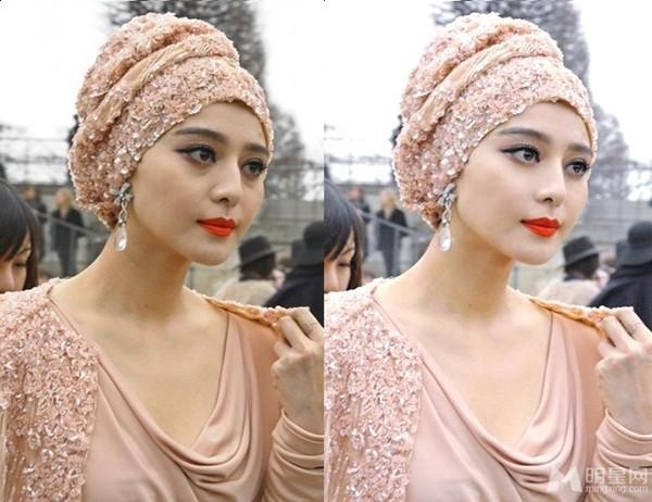 Gương mặt lộ thâm quầng ở vùng mắt cùng không mấy nuột nà (trái) và gương mặt hoàn hảo nhờ chỉnh sửa ảnh (phải)