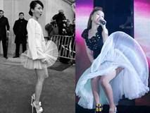 """Diện váy mỏng, váy ngắn sao Việt, sao Hàn tá hỏa khi gặp """"gió độc"""""""