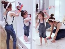 Cadie Mộc Trà diện đồ đôi và lau dọn cửa hàng cùng mẹ Elly Trần