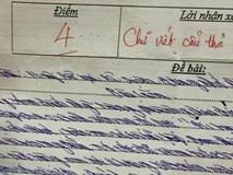 Dân mạng chia sẻ bài kiểm tra 4 điểm, chữ viết quá xấu