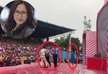 Thùy Chi 'đứng hình' khi bất ngờ bị fan cuồng cưỡng hôn trên sân khấu