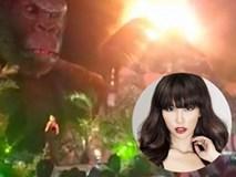 Hà Anh nói hăng say khi mô hình Kong 1 tỷ phía sau cháy rừng rực