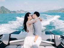 Thành Trung và vợ mới cưới hôn nhau đắm đuối trước biển