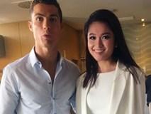Cristiano Ronaldo thân mật ôm eo Á hậu Thùy Dung