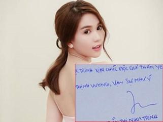 Nhìn chữ viết của Ngọc Trinh ai cũng choáng khi so với chữ viết của Phạm Hương, Elly Trần
