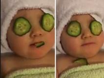 Màn đắp mặt nạ siêu đáng yêu của em bé khiến cộng đồng mạng phát hờn