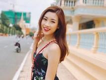 Hoa hậu Mỹ Linh xinh đẹp diện váy hai dây ở Campuchia
