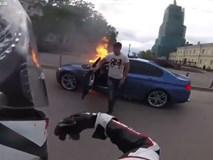 BMW M5 bốc cháy trên phố khi đua với môtô