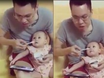 Cười không nhặt được mồm với ông bố đút sữa chua cho con mà cứ ăn thun thút