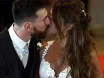 Messi hạnh phúc khóa môi Antonella trên thảm đỏ