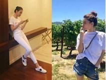 """Hà Hồ và """"tình mới"""" của Cường Đô la cùng mặc áo phông trắng, ai phong cách hơn ai"""