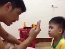 Ông bố điên đầu khi dạy con nhỏ tập đếm số