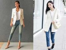 Không hẹn mà gặp, Hoàng Thùy - Minh Tú cùng diện blazer trắng và jeans rách trong street style tuần này