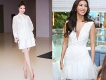 """Minh Tú mặc đầm trắng """"hở"""" vừa phải, dẫn đầu top sao mặc đẹp tháng 7"""