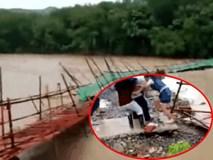 Vừa đặt chân lên bờ thì cầu sập, người phụ nữ trẻ may mắn thoát khỏi lưỡi hái tử thần