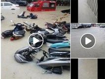 """Phuket ngập nặng, nhiều phương tiện phải """"ngâm mình"""" trong biển nước"""