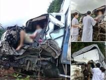 Xe tải va chạm kinh hoàng với xe bồn chở xăng, 2 người mắc kẹt trong cabin