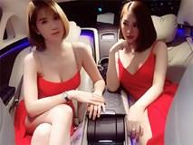 Ngọc Trinh, Linh Chi mặc váy đỏ khoe ngực đầy hút mắt trên xe 12 tỷ