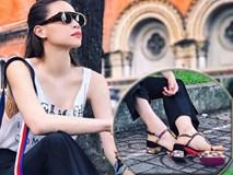 Sau đôi sneaker 20cm, Hà Hồ lại tiếp tục sắm thêm đôi sandals lóng lánh cực ảo diệu