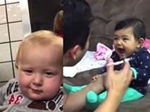 """Phản ứng """"khó đỡ"""" của bé yêu hút hàng triệu lượt xem"""