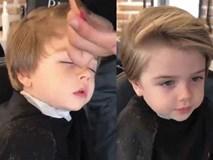 Cậu bé Tây dễ thương vừa cắt tóc vừa ngủ gật: Con nhà ai mà khéo quá!