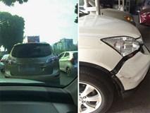 Đụng xe, tài xế hùng hổ dọa đánh người phụ nữ rồi bỗng nhiên nhấn ga bỏ chạy