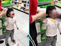 Phẫn nộ ông nội tát liên tiếp cháu gái 4 tuổi đến chảy máu miệng ngay giữa siêu thị