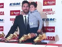 Con trai Messi phùng má siêu dễ thương, cùng cha nhận giải Chiếc giày vàng