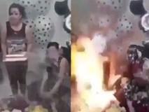 Clip tai nạn kinh hoàng trong sinh nhật: Cô gái bị bỏng sau khi bọt tuyết phun đầy người bắt lửa cháy dữ dội