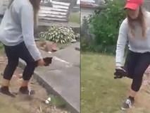 Clip gây phẫn nộ: Cô gái ném chú mèo con tội nghiệp xuống nền đất, chọi cả tảng bê tông lên người