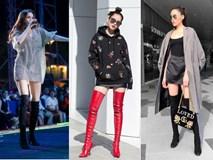Lấn át hết mọi loại khác, boots cao đến đầu gối trở thành món đồ được diện nhiều nhất trong mùa đông năm nay