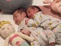 """Hai bé sinh đôi ôm nhau ngủ """"cưng ơi là cưng"""""""