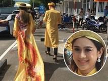 """Loạt ảnh cận cảnh cô dâu Lâm Khánh Chi diện áo dài long phụng """"quét đất"""" về nhà chồng"""
