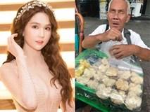 Ngọc Trinh hào phóng tặng tiền ông lão mù bán bánh trên vỉa hè Sài Gòn