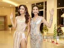 Là đối thủ trực diện, Hoàng Thuỳ và Mâu Thủy vẫn thân thiết sánh đôi trong tiệc kỉ niệm 10 năm Hoa hậu Hoàn vũ Việt Nam