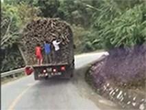 Clip: Thót tim nhóm trẻ đu bám xe tải trên quốc lộ