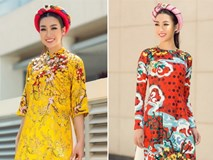 Hoa hậu Mỹ Linh diện áo dài hoa mai, hoa đào rực rỡ xuống phố