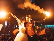 """Cô dâu chú rể """"đi bão"""" ăn mừng U23, nhân tiện chụp luôn ảnh cưới!"""