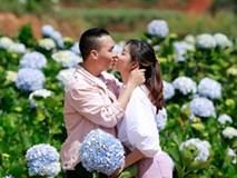 BTV Nguyễn Hoàng Linh ngọt ngào hôn chồng sắp cưới ở vườn hoa cẩm tú cầu