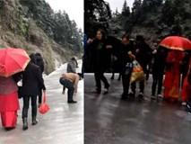 Trời lạnh đường đóng băng, nhà gái vẫn kiên cường đưa dắt cô dâu