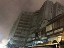Động đất Đài Loan kéo sập 5 tòa nhà, khách sạn nghiêng ngả