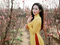 """""""Hot girl dao kéo"""" Nam Định đẹp lúng liếng với áo dài xuân"""